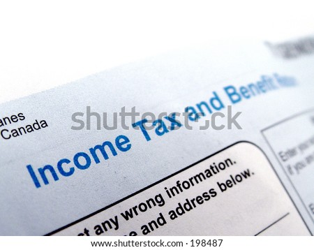 Income Tax Form taken closeup