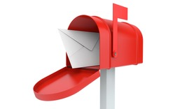 Incoming mail. mailbox with letter isolated on white with clipping path
