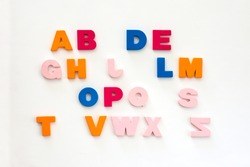 Incomplete alphabet of multicolored letters