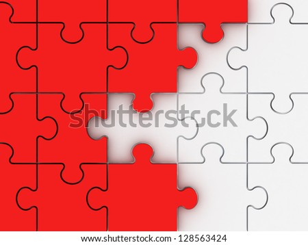 Incomplete concept, red jigsaw puzzle pieces.