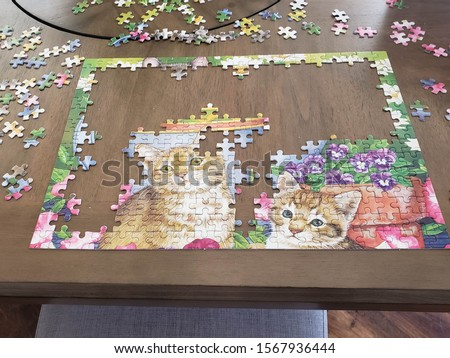 incomplete jigsaw puzzle and puzzle pieces with cats on table