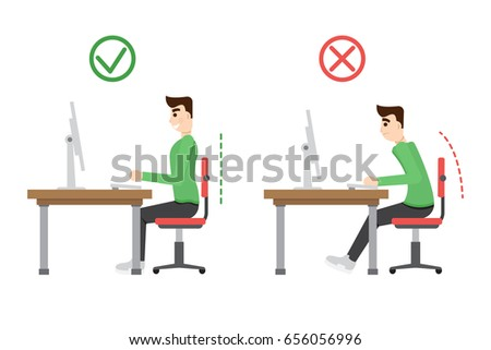 Incorrect and correct  spine sitting posture. Office health infographic.