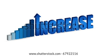 Increase business chart and word isolated on white.
