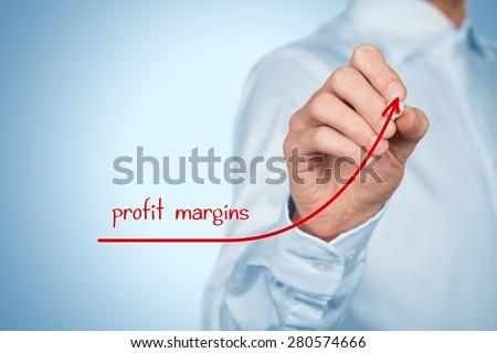 Increase profit margins concept. Businessman plan (predict) profit margins growth represented by graph.