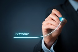 Increase revenue concept. Businessman plan revenue growth.