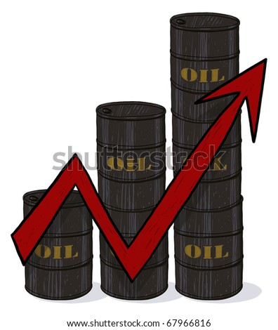 Increasing Oil Prices; Oil barrels with a red arrow pointing up; Oil barrels prices are going up concept