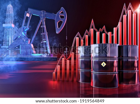 Increasing oil stock price. Oil price up growth graph 3D background: oil pump, drill rig, barrels, energy high price charts rise. Coronavirus covid-19 impact on brent oil market economy fluctuations