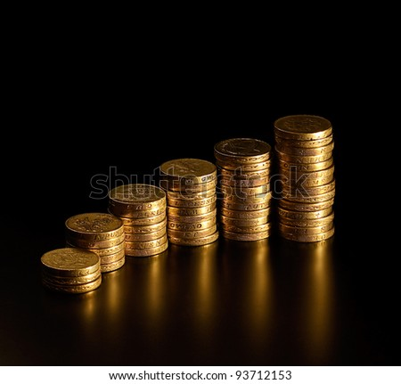 Increasingly higher piles of British Pound Coins resembling an increasing profit graph