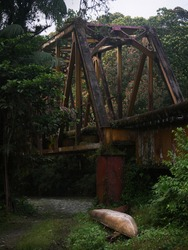 incredible abandoned old iron bridge through the jungle in san cipriano colombia