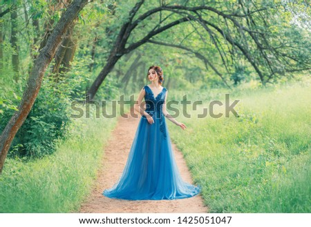 incredible cute sea princess walks through a red fairy forest alone, a magic fairy in a green turquoise dress, a cute dark-haired nymph like a magic flower, a lady on a secret path, creative colors