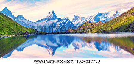 Incredible fascinating magical landscapel panorama with a lake in the mountains in the Swiss Alps. Wetterhorn, Schreckhorn, Finsteraarhorn et Bachsee. Charming places. Nature attractions. #1324819730