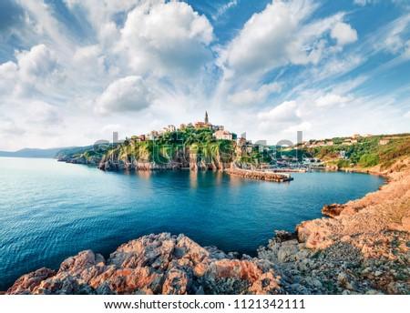 Incredible morning cityscape of Vrbnik town. Perfect summer seascape of Adriatic sea, Krk island, Kvarner bay archipelago, Croatia, Europe. Beautiful world of Mediterranean countries.  #1121342111