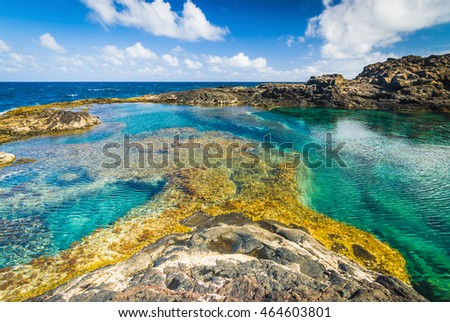 Incredible natural pool at the coastside of lanzarote in nature. Lanzarote. Canary Islands. Spain