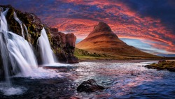 Incredible Nature landscape of Iceland. Fantastic picturesque sunset over Majestic Kirkjufell (Church mountain) and waterfalls. Kirkjufell mountain, Iceland. Famous travel locations.