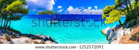 Incredible nature of Skopelos island, turquoise sea of Kastani beach. Northen Sporades of Greece