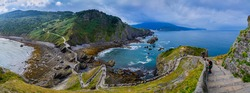 Incredible panoramic view from the island of Gaztelugatxe. Basque country. Northern spain