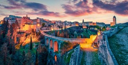 Incredible spring dawn on Gravina in Puglia tovn. Wonderful morning landscape of Apulia, Italy, Europe. Traveling concept background.