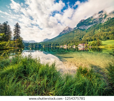 Incredible summer scene of Hintersee lake. Sunny morning view of Bavarian Alps on the Austrian border, Germany, Europe. Beauty of nature concept background.  #1254375781