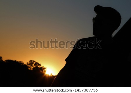 Incredible sunset silhouette by a forest with many trees #1457389736