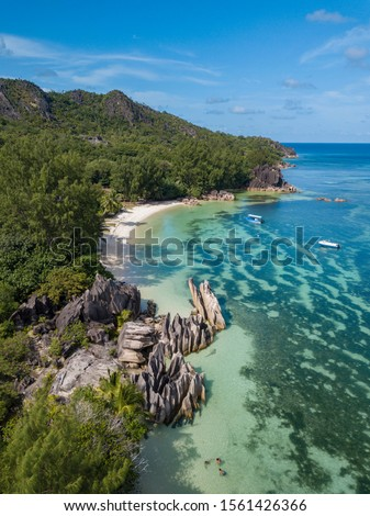 incredible view on the coastline of Curieuse Island on the seychelles from a Drone, travel and Tour destination concept Stock photo ©
