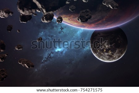 Incredibly beautiful and detailed space image, light of stars and planets. Elements of this image furnished by NASA #754271575