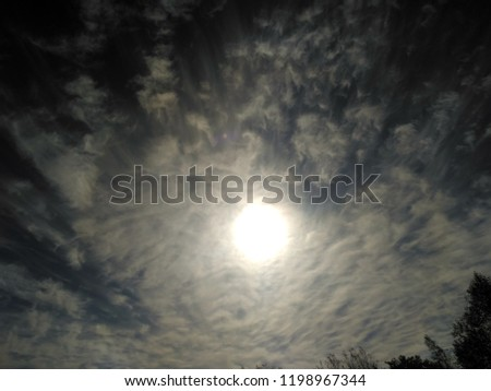 Incredibly beautiful curly wavy clouds. Unusual breathtaking texture of the cloudy sky. Heaven scenic atmospheric photo #1198967344