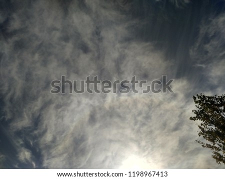 Incredibly beautiful curly wavy clouds. Unusual breathtaking texture of the cloudy sky. Heaven scenic atmospheric photo #1198967413