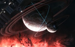 Incredibly beautiful space landscape. Glowing structures on surface of planet with rings. Space station blurred in motion. Science fiction. Elements of this image furnished by NASA