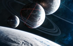 Incredibly beautiful space landscape. Inhabited deep space planet with rings. Glowing structures on planet's surface. Science fiction. Elements of this image furnished by NASA