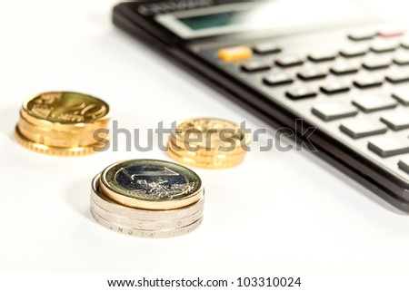 Increment of capital: euro coins and calculator in the background