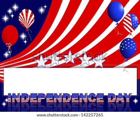 Independence Day. A beautiful text and balloons with the pattern of the American flag. Raster version.