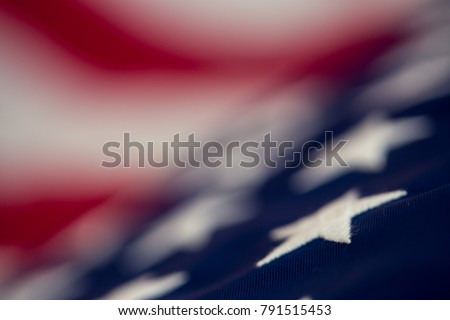 Independence day, American flag, close-up, retro, top view, blur, with copy space for text