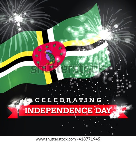 Independence Day fireworks and the Dominica flag. concept #418771945