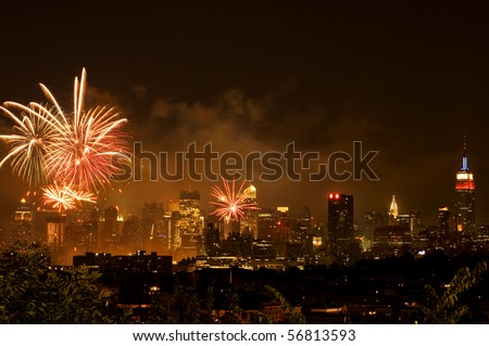 Independence day fireworks over Manhattan, New York city