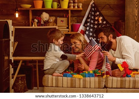 Independence day. Happy family celebrate independence day. Happy Independence day celebration in kindergarten. Say it loud for country proud. USA Independence day.