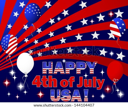 Independence Day. Text and balloons with the pattern of the American flag. Raster version. - stock photo