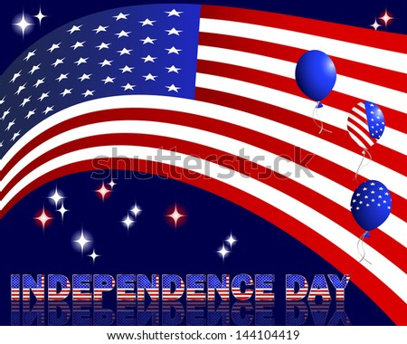 Independence Day. Text and balloons with the pattern of the American flag. Raster version.