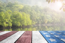Independence Day, 4th july, Veterans Day, Presidents day, Patriotic USA flag on table top by the lake for background