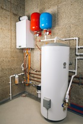 independent heating system in boiler-room