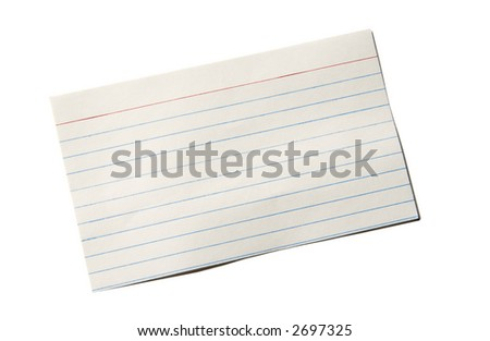 Index card with slight bends