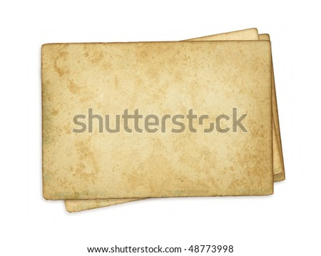 Index cards. Image of an old, grungy note-card isolated on a white background. Three blank piece of paper.