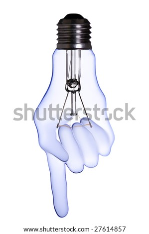index finger hand lamp bulb with clipping path