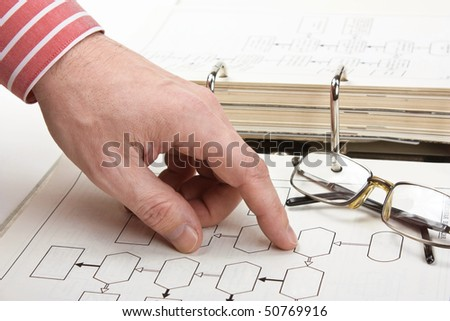 Index Finger Pointing To The Block Diagram Stock Photo ...