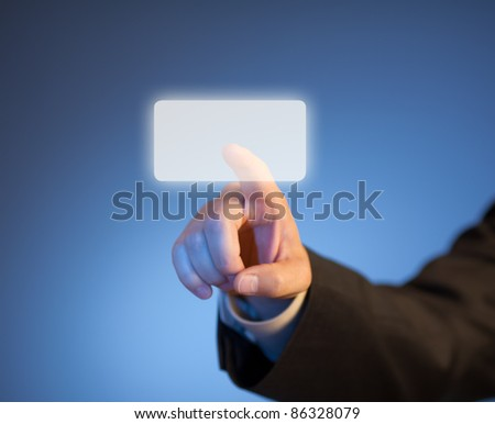 Index finger pressing abstract virtual button on touchscreen