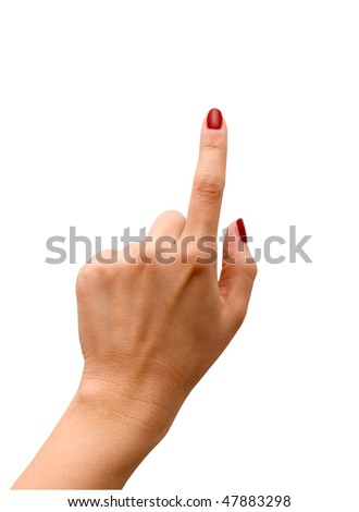 Index finger showing something isolated on white
