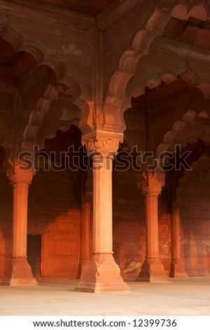 India, Agra. Palace inside of the Red Fort - stock photo