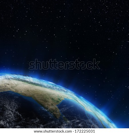India and Himalayas from space. Elements of this image furnished by NASA