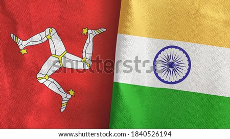 India and Isle of Mann two folded flags together 3D rendering Foto stock ©