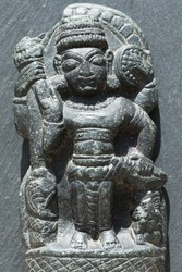 India, 17 April, 2021 : Damaged lord Vishnu idol, Damaged lord idol,Ancient lord Vishnu idol, Ancient statue.