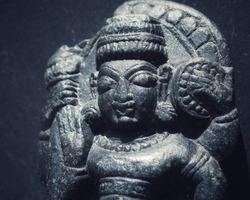 India, 16 April, 2021 : Damaged lord Vishnu idol, Damaged lord idol, Ancient lord Vishnu idol, Ancient statue.